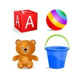 Geplaatste het pictogram van het stuk speelgoed - het blok, bal, emmer, draagt vector illustratie