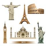 Geplaatste het pictogram van het wereldoriëntatiepunt/vector Stock Afbeelding