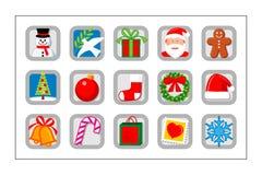 Geplaatste het Pictogram van Kerstmis - versie 2 Royalty-vrije Stock Afbeeldingen
