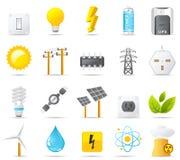 Geplaatste het pictogram van Nouve: Macht, Energie en Elektriciteit Stock Afbeeldingen