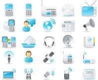 Geplaatste het pictogram van Nouve: Radio en mededeling Stock Foto