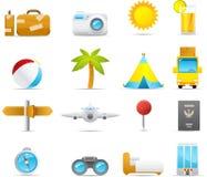 Geplaatste het pictogram van Nouve: Vakantie en het Reizen vector illustratie