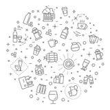 Geplaatste het pictogram van het overzichtsweb - drink koffie, thee, alcohol Stock Foto