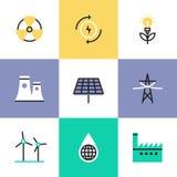 Geplaatste het pictogrampictogrammen van de duurzame energieproductie royalty-vrije illustratie
