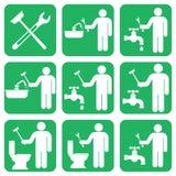 Geplaatste het symboolpictogrammen van het loodgieterswerkwerk Royalty-vrije Stock Afbeelding