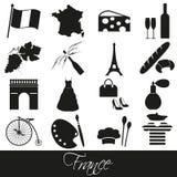 Geplaatste het themasymbolen en pictogrammen van het land van Frankrijk Stock Afbeeldingen