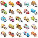 Geplaatste het vervoerpictogrammen van de voedselvrachtwagen, isometrische stijl vector illustratie
