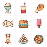 Geplaatste het Voedselpictogrammen van de pictogrammenstijl Royalty-vrije Stock Afbeelding