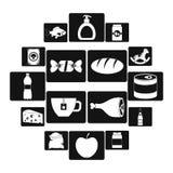 Geplaatste het voedselpictogrammen van de winkelnavigatie, eenvoudige stijl Royalty-vrije Stock Foto