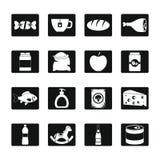 Geplaatste het voedselpictogrammen van de winkelnavigatie, eenvoudige stijl Stock Fotografie