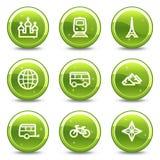 Geplaatste het Webpictogrammen van de reis en van het vervoer Royalty-vrije Stock Foto