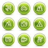 Geplaatste het Webpictogrammen van de reis en van het vervoer Stock Foto's