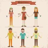 Geplaatste Hipstermeisjes en jongens vector illustratie
