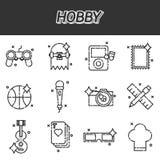 Geplaatste hobby vlakke pictogrammen royalty-vrije illustratie