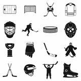 Geplaatste hockey zwarte eenvoudige pictogrammen Stock Afbeeldingen