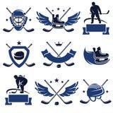 Geplaatste hockeyetiketten en pictogrammen Vector royalty-vrije illustratie