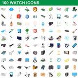 100 geplaatste horlogepictogrammen, beeldverhaalstijl vector illustratie