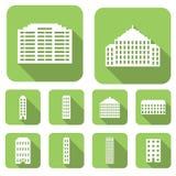 Geplaatste huis vlakke pictogrammen Royalty-vrije Stock Afbeeldingen