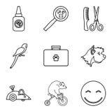 Geplaatste huisdieren de pictogrammen, schetsen stijl Stock Afbeelding