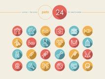 Geplaatste huisdieren vlakke pictogrammen Stock Afbeeldingen