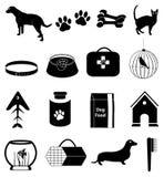 Geplaatste huisdierenpictogrammen Stock Afbeelding