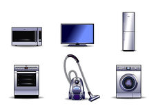 Geplaatste huishoudapparaten Stock Foto's