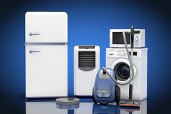 Geplaatste huishoudapparaten het 3d teruggeven Stock Foto