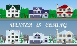 Geplaatste huizen De winterstraat stock illustratie