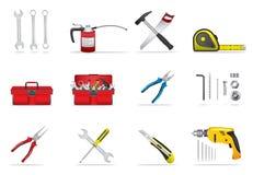 Geplaatste hulpmiddelenpictogrammen Stock Foto's