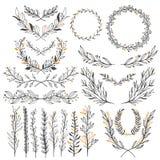 Geplaatste huwelijks bloemen grafische elementen, verdelers, laurier Decoratief uitnodigingsontwerp vector illustratie