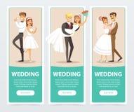 Geplaatste huwelijksbanners, gelukkige enkel echtparen vlakke vectorelementen voor website of mobiele app stock illustratie