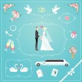 Geplaatste huwelijkspictogrammen Royalty-vrije Stock Fotografie