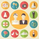 Geplaatste huwelijkspictogrammen, vlakke ontwerpvector Stock Afbeelding
