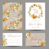 Geplaatste huwelijksuitnodiging - Autumn Lily Floral vector illustratie