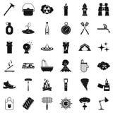 Geplaatste hydrantpictogrammen, simle stijl Royalty-vrije Stock Afbeeldingen