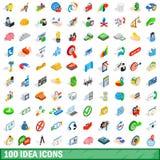 100 geplaatste ideepictogrammen, isometrische 3d stijl vector illustratie