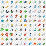 100 geplaatste ideepictogrammen, isometrische 3d stijl Royalty-vrije Stock Afbeelding