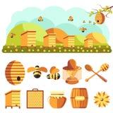 Geplaatste imkerijpictogrammen: honing, bij Stock Foto