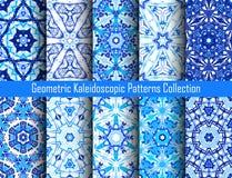Geplaatste indigo Blauwe Caleidoscopische Patronen Stock Afbeelding