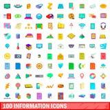 100 geplaatste informatiepictogrammen, beeldverhaalstijl Royalty-vrije Stock Afbeeldingen