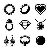 Geplaatste juwelenpictogrammen Royalty-vrije Stock Afbeeldingen