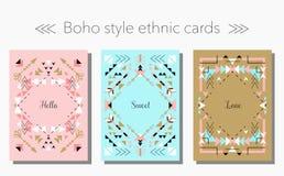 Geplaatste kaarten en de kaders van de Boho de stammen etnische stijl Vector illustratie stock illustratie