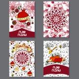 Geplaatste kaarten van de het Nieuwjaargroet van Roshhashanah de Joodse vector illustratie