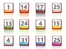 Geplaatste kalenderpictogrammen Stock Afbeeldingen