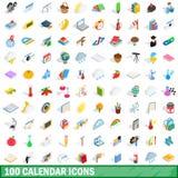 100 geplaatste kalenderpictogrammen, isometrische 3d stijl Royalty-vrije Stock Fotografie
