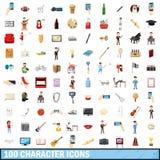 100 geplaatste karakterpictogrammen, beeldverhaalstijl Royalty-vrije Stock Foto