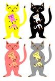 Geplaatste katten en katjes royalty-vrije illustratie