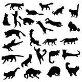 Geplaatste kattensilhouetten Royalty-vrije Stock Afbeeldingen