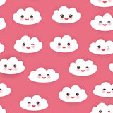 Geplaatste Kawaii grappige witte wolken, snuit met roze wangen en het knipogen ogen Naadloos patroon op roze achtergrond Vector Royalty-vrije Stock Afbeelding