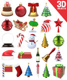 Geplaatste Kerstmis 3D Voorwerpen Stock Foto's